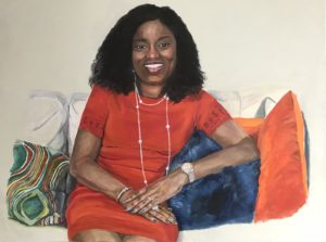 Oil painting of woman of colour in red dress