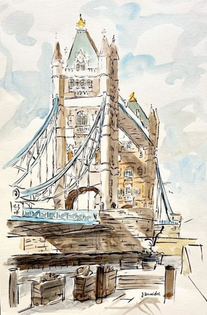 Tower Bridge watercolour painting