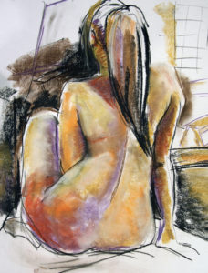 Nude with pony tail in pastel
